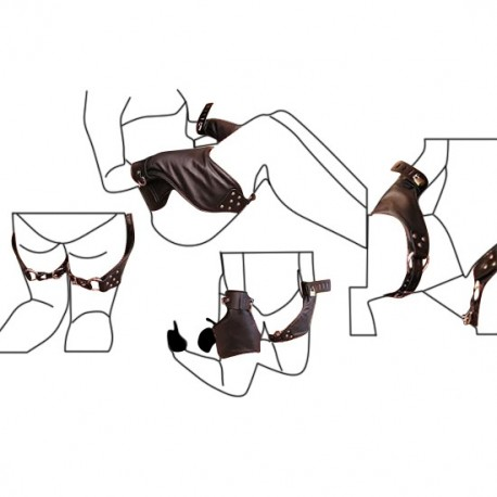 BDSM restraint block hands on legs