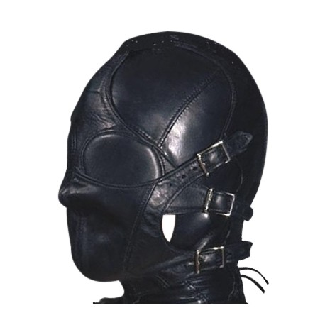 S&M Total Submission Leather Hood with detachable muzzle