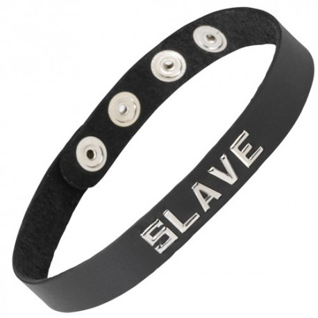 "Leather Bondage Choker Collar with silver ""SLAVE"" motif"