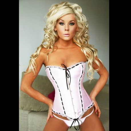 Sexy pink and black corset