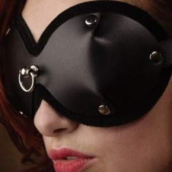 Bondage Mask and Blindfold with Frontal Attachment Ring