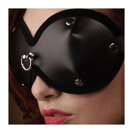 BDSM Leather Mask & Blindfold with Frontal Attachment Ring