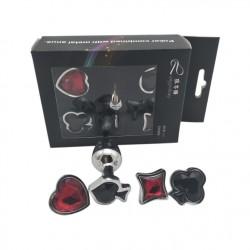 Plug anal Poker en acier inoxydable avec tête pique, cœur, carreau ou trèfle
