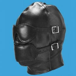 Full Face Leather Hood with Detachable Muzzle and Mask