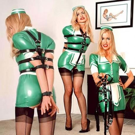 Body Camisole Bondage en lanières cuir avec cadenas