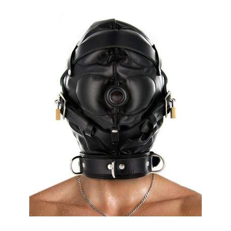 S&M Leather Hood - XTREME Total Sensory Deprivation
