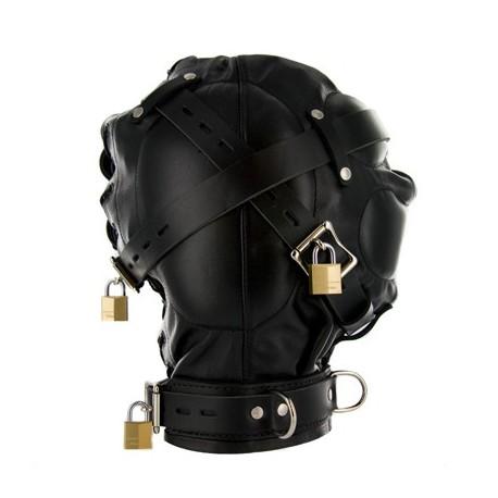 S&M Leather Hood - XTREME Total Sensory Deprivation