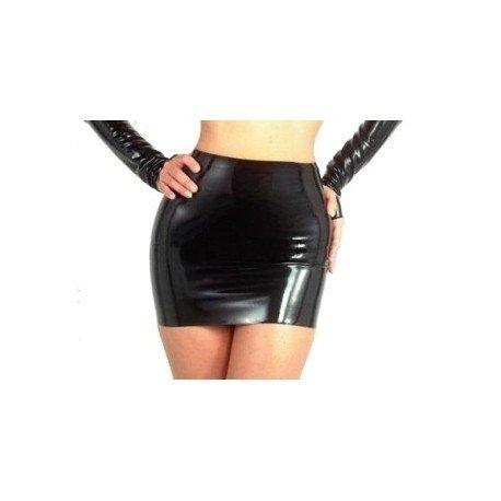 Black vinyl mini skirt
