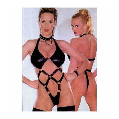 Body harness bondage: queen latex special