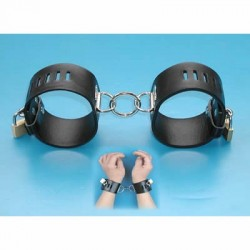 Leather handcuffs adjustable, lockable padlock