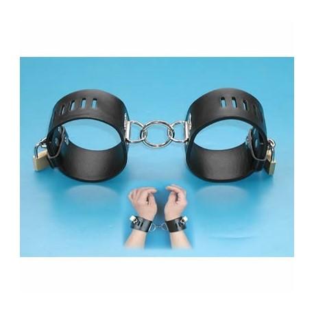 Leather handcuffs adjustable, lockable padlock