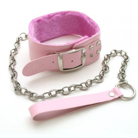 Collar + leash in pink leather and fur