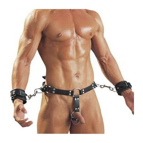 Leather belt for men with handcuffs