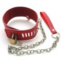 "BDSM Bondage Submission ""Blue Heart"" Collar - lockable using padlock, + leash"