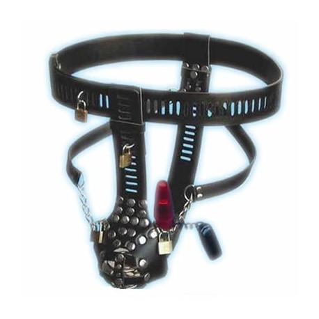 Leather chastity belt for men with anal dildo