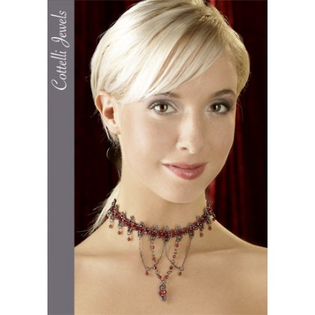 Pearl Necklace glamorous red and gray