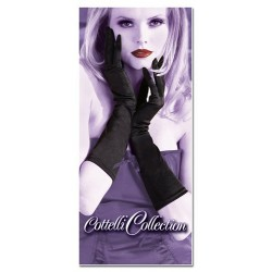 Sexy medium length black satin gloves