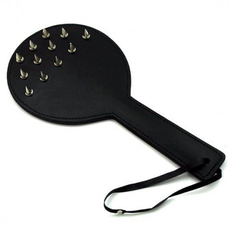 Spanking in leather swatter: with nails of submission