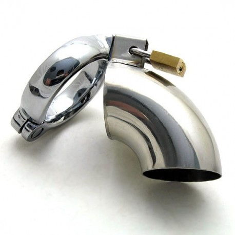 Curved, stainless steel chastity cage + padlock for testicles