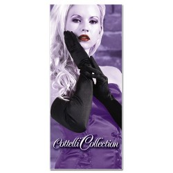 Long sexy black satin evening gloves