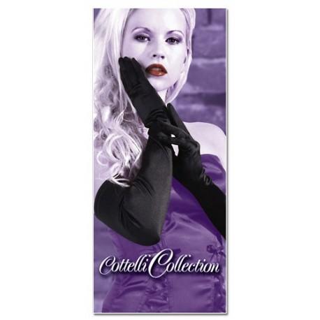 Long sexy black satin evening gloves