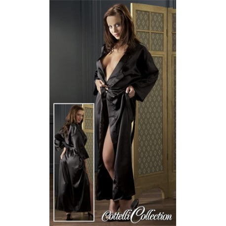 Kimono black satin and belt