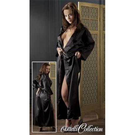 Kimono black satin and belt